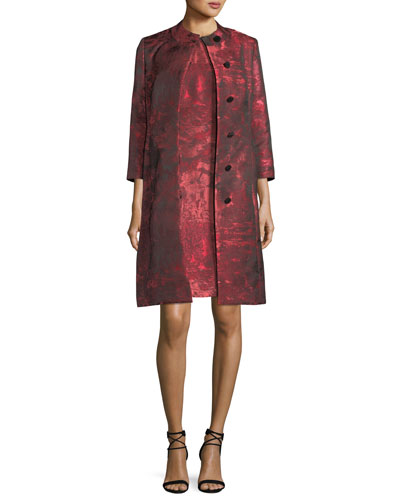 Sleeveless Jacquard A-line Dress w/ Matching Jacket