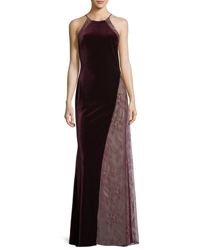 Velvet/Lace Sleeveless Halter Column Evening Gown