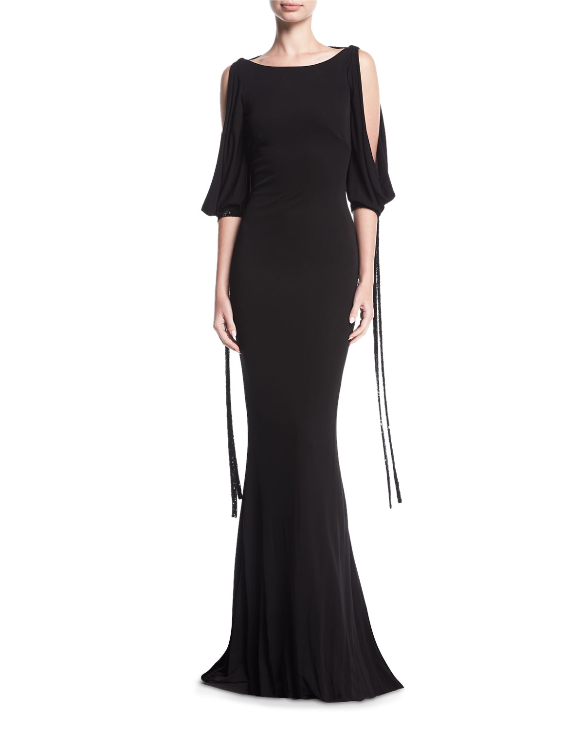 Puddle-Hem Draped Tie-Sleeve Jersey Evening Gown