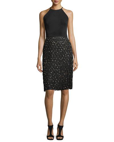 Sleeveless Halter Cocktail Dress w/ Fringe Beaded Skirt