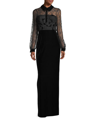 Collared Lace-Top Velvet Evening Gown