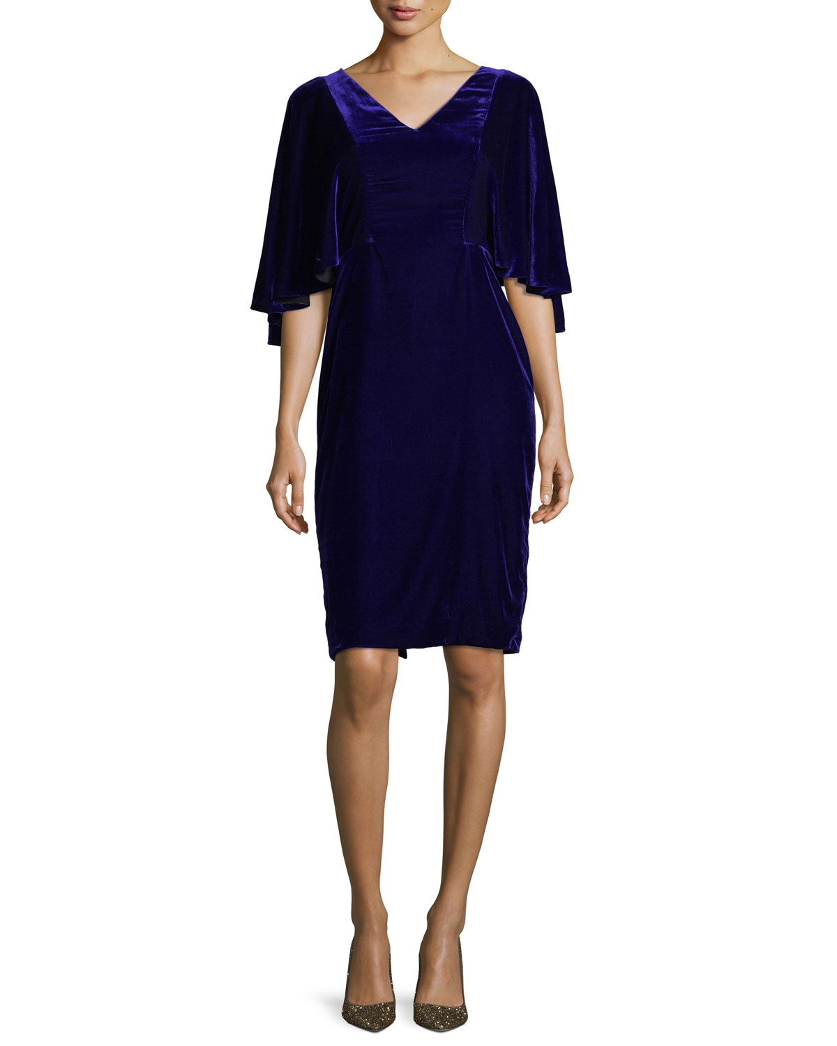 V-Neck Cape Sleeve Velvet Cocktail Dress