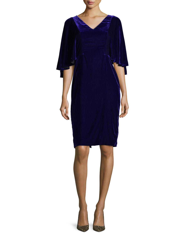 V-Neck Cape Sleeve Velvet Cocktail Dress