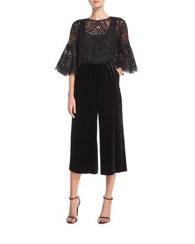 Trisha Lace & Velvet Wide-Leg Jumpsuit