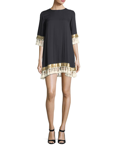 Shimmy Shimmy Tassel-Trimmed Silk Chiffon Cocktail Dress