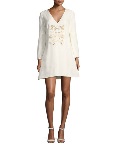 Sambrado Camisa Bell-Sleeve Embellished Cocktail Dress
