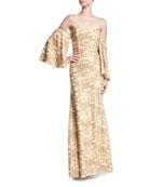 Mestiza New York Glitterati Off-the-Shoulder Beaded Trumpet Gown