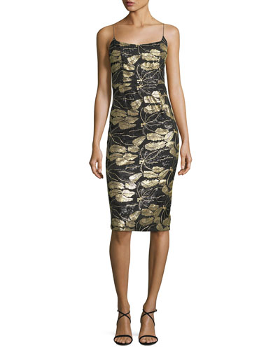 Sleeveless Beaded Cocktail Sheath Dress