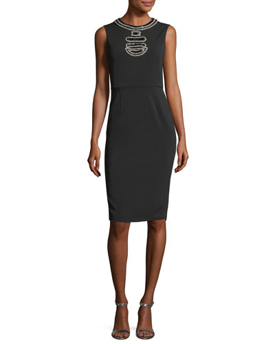 Maria Luisa Sleeveless Beaded Cocktail Dress