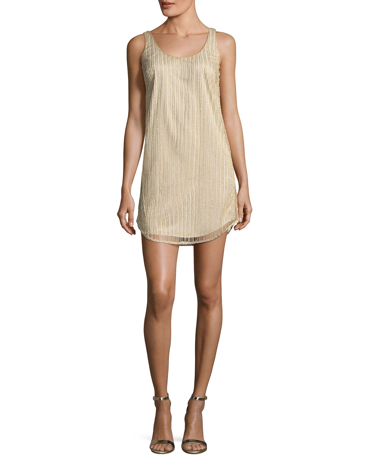 MESTIZA NEW YORK Vertical Beaded Tank Cocktail Dress in Champagne