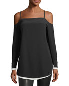Karley Cold-Shoulder Long-Sleeve Silk Top