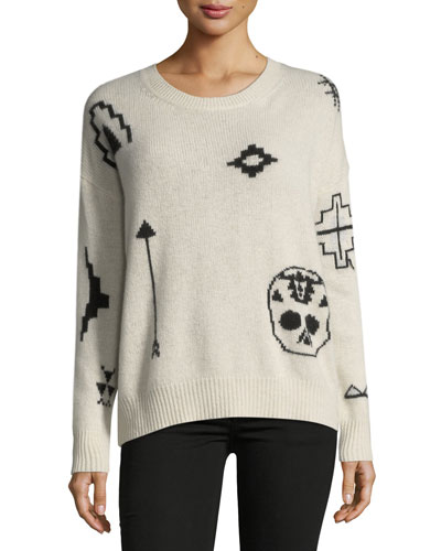 Xandra Crewneck Long-Sleeve Printed Cashmere Sweater