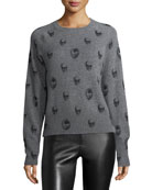 Ebony Crewneck Skull-Print Cashmere Sweater
