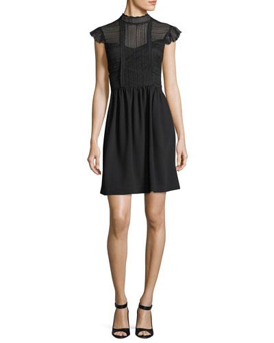 Aliena Lace Bodice Mock-Neck Cocktail Dress