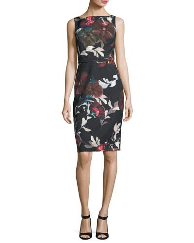 Beverly Sleeveless Floral-Print Dress