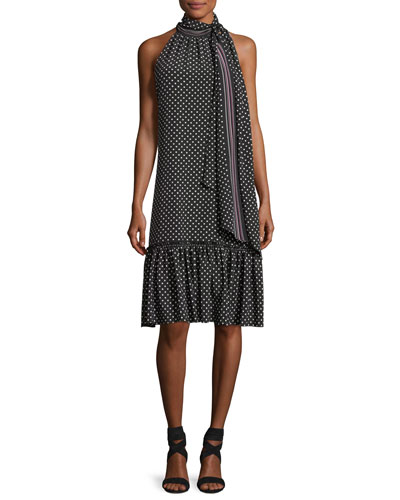 Becoming Sleeveless Tie-Neck Polka Dot Dress