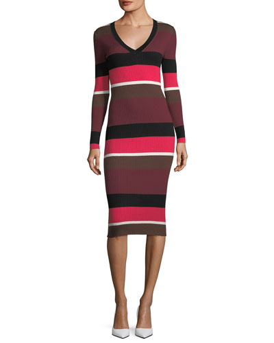 Grand Ave Striped Merino Wool Sweaterdress