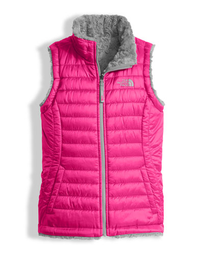 The North Face Girls' Reversible Mossbud Swirl Vest, Pink, Size XXS - XL