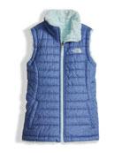 Girls' Reversible Mossbud Swirl Vest, Blue, Size XXS-XL