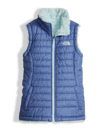 The North Face Girls' Reversible Mossbud Swirl Vest, Blue, Size XXS - XL