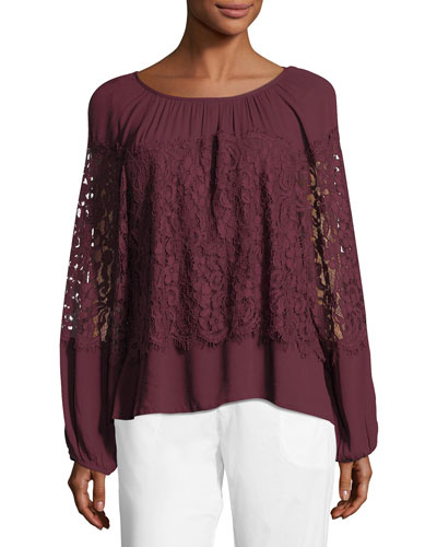 Sunneva Lace Mix Crepe Top