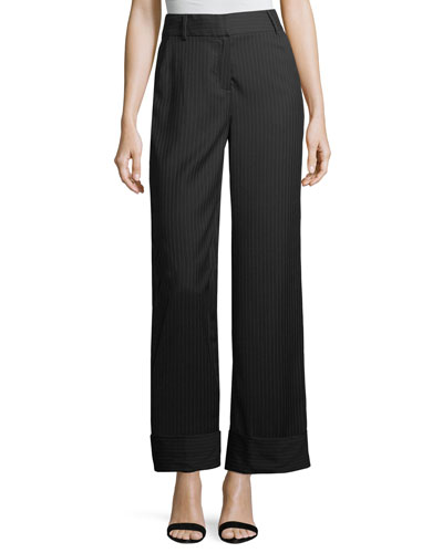 Cuffed Pinstriped Wide-Leg Pants