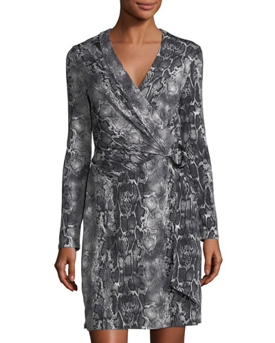 Snakeskin-Print Wrap Dress
