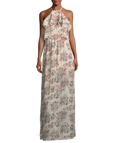 Ruffled-Trim Floral-Print Maxi Dress