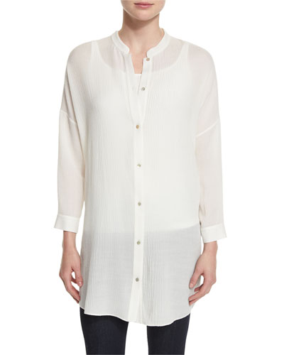 Crinkled Gauze Long Shirt