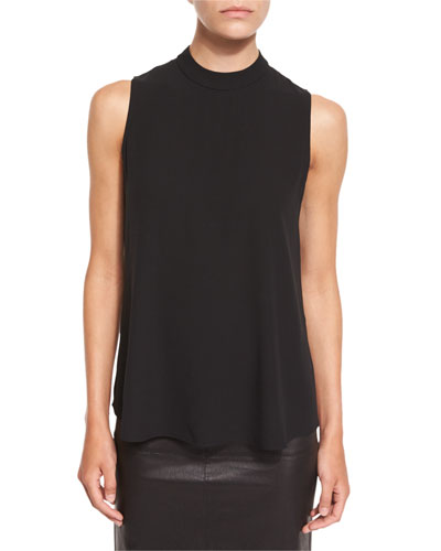 High-Neck Silk Georgette Tank, Black