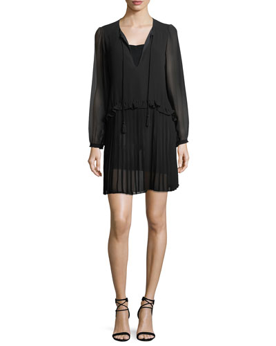 Morrison Split-Neck Chiffon Mini Dress