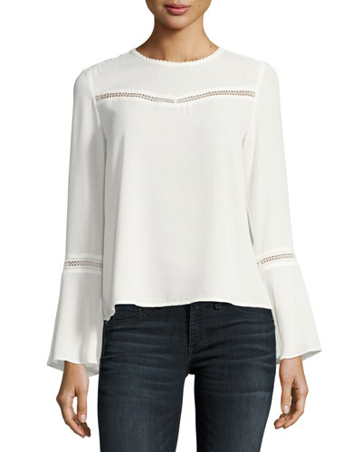 Chava Jewel-Neck Bell-Sleeve Blouse