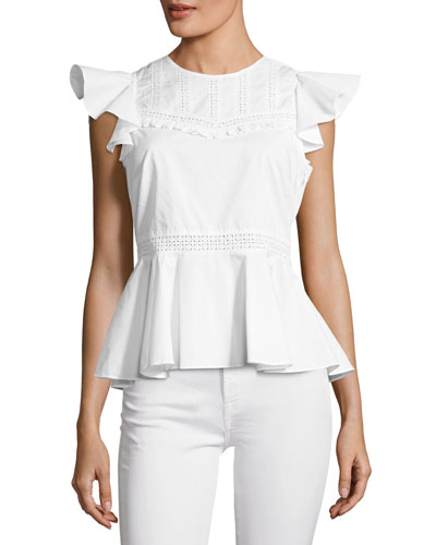 Betty Embroidered Poplin Top w/ Ruffled Frills