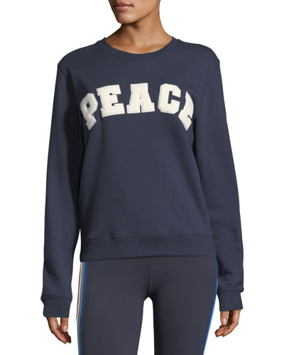 Peace Letterman Crewneck Cotton Sweatshirt