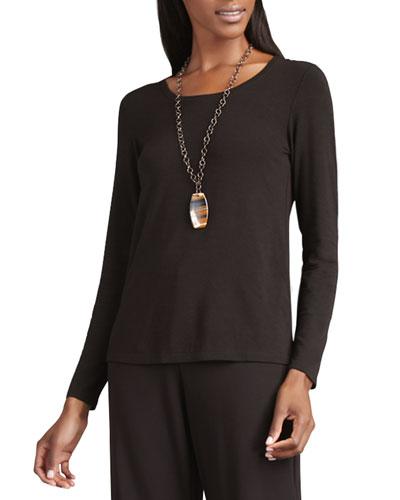 Long-Sleeve Slim Jersey Top, Plus Size