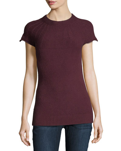 Cap-Sleeve Ottoman-Yoke Sweater