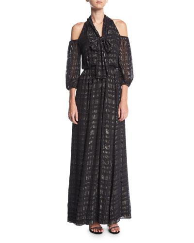 Laurel Cold-Shoulder Tie-Neck Evening Gown