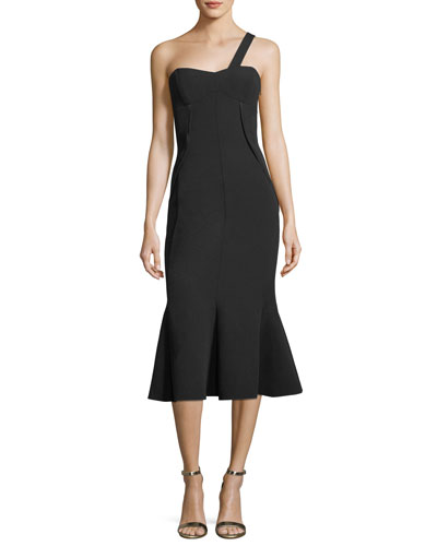 Celia One-Shoulder Trumpet Midi Cocktail Dress