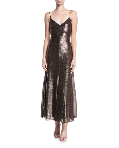 Metallic V-Neck Sleeveless Cocktail Slip Dress