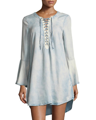 Lace-Up Bell-Sleeve Chambray Dress