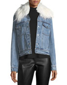 Removable Faux-Fur-Collar Denim Trucker Jacket