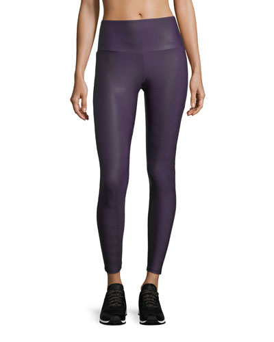High-Rise Textured Performance Leggings w/ Mesh