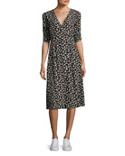 Floral-Print Short-Sleeve Midi Dress