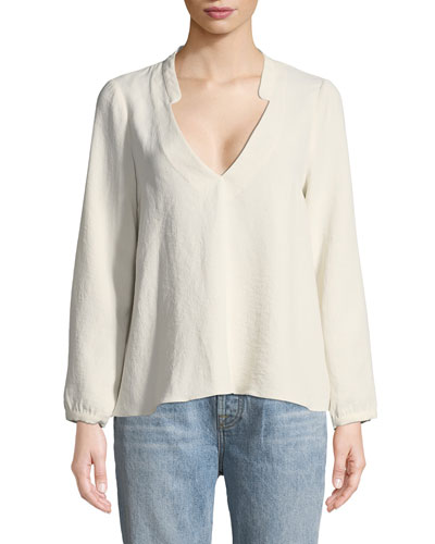 Corian Split-Neck Long-Sleeve Blouse