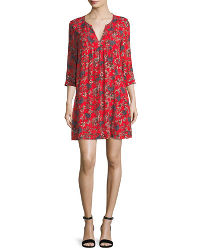 Ever Floral-Print Split-Neck Shift Mini Dress