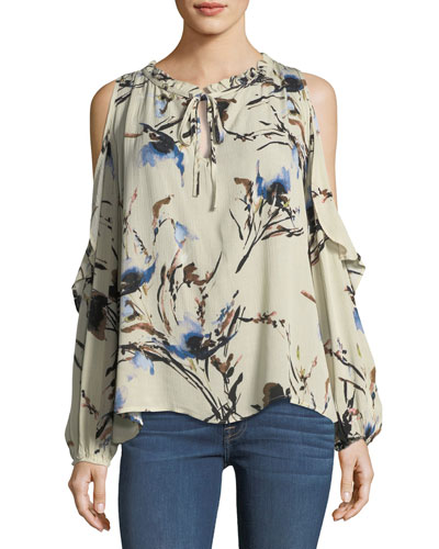 Floral Ruffle Cold-Shoulder Blouse