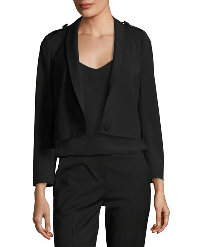 Tali One-Button Cropped Wool-Blend Blazer