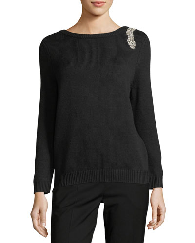 Opera V-Back Sweater w/ Rhinestone Embellishment