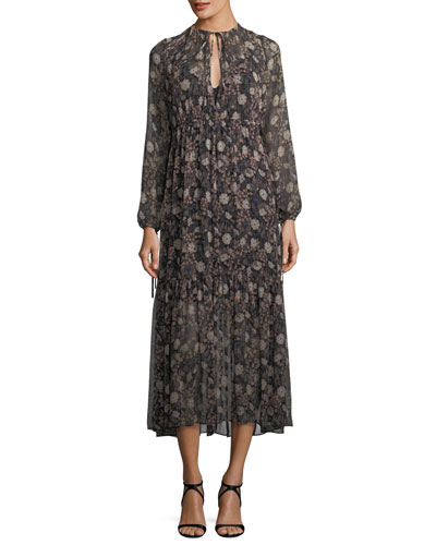 Tiered Floral-Print Peasant Chiffon Maxi Dress