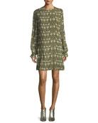 Floral-Print Pleated Chiffon Dress